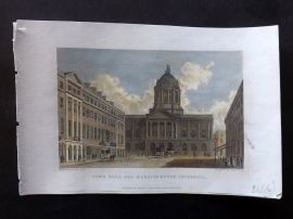 Westall 1830 Hand Col Print. Town Hall and Mansion House, Liverpool